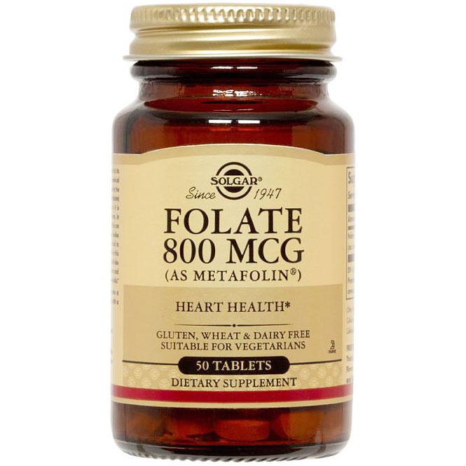 Folate 800 mcg (as Metafolin), 100 Tablets, Solgar