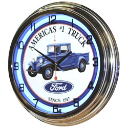 Image of Ford #1 Truck 17 Inch Blue Neon Wall Clock