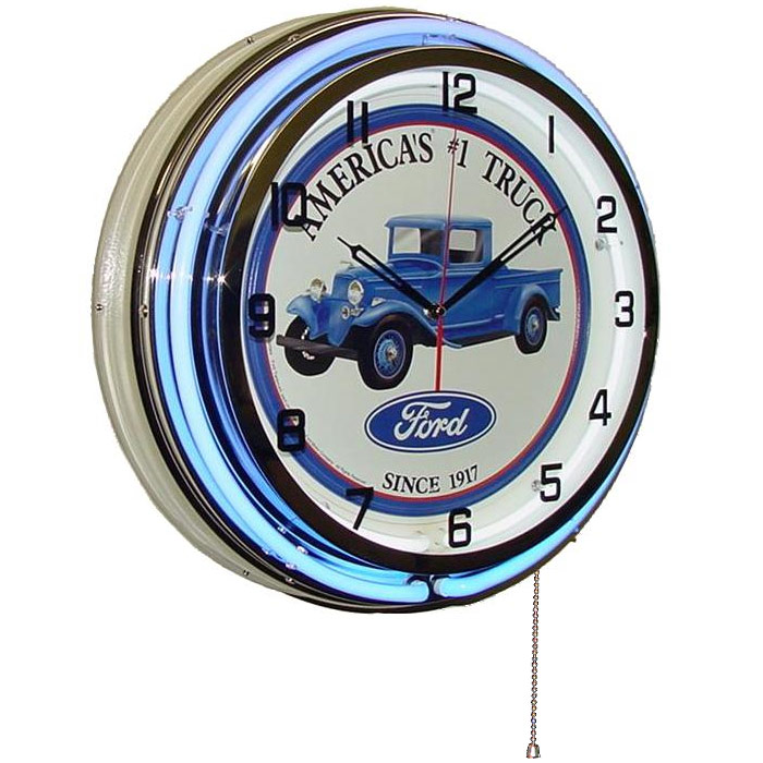 Image of Ford: America's #1 Truck 18 Inch Double Blue Neon Wall Clock