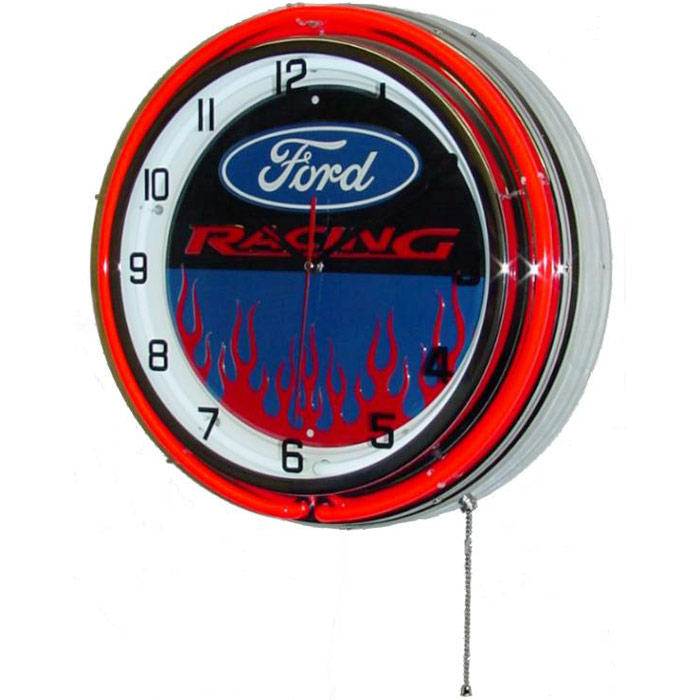 Image of Ford Racing 18 Inch Double Red Neon Wall Clock