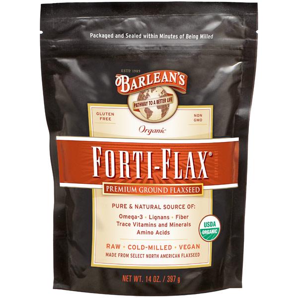 Forti-Flax, Organic Ground Flaxseed Pouch, 14 oz, Barleans Organic Oils