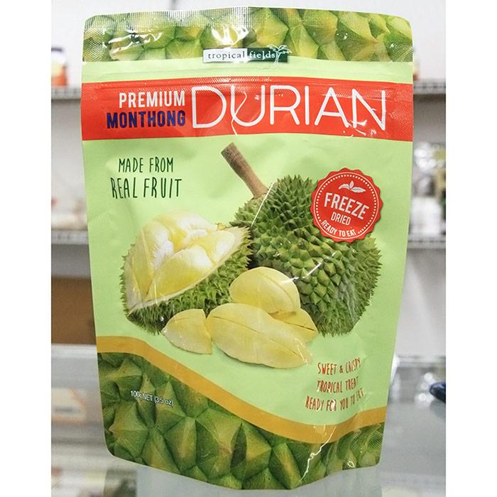 Freeze Dried Premium Monthong Durian, Sweet & Crispy Tropical Treat, 3.5 oz (100 g), Tropical Fields