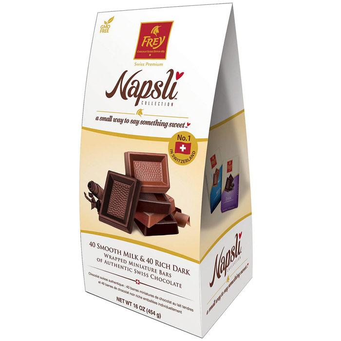 Frey Napsli Smooth Milk Chocolate & Rich Dark Chocolate Miniature Bars, 16 oz (454 g)