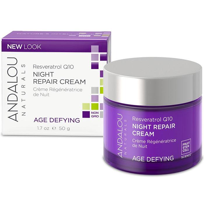 Resveratrol Q10 Night Repair Cream, 1.7 oz, Andalou Naturals