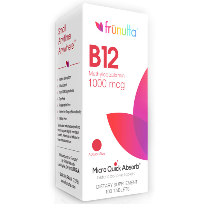 Frunutta Vitamin B12 Methylcobalamin 1000 mcg, 100 Sublingual Tablets