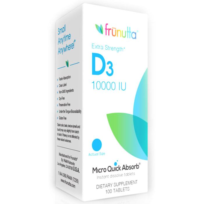 Frunutta Vitamin D3 10000 IU, Extra Strength, 100 Sublingual Tablets