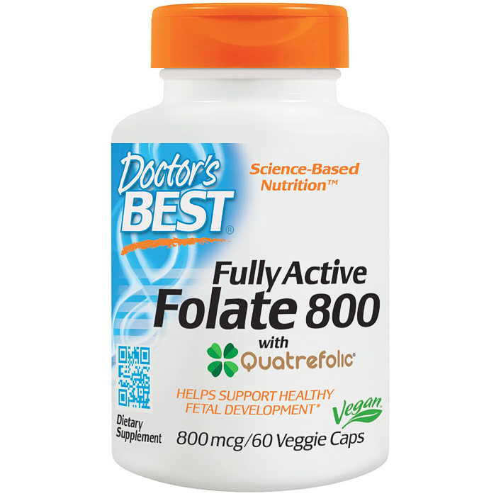Fully Active Folate 800 with Quatrefolic, 60 Veggie Caps, Doctors Best