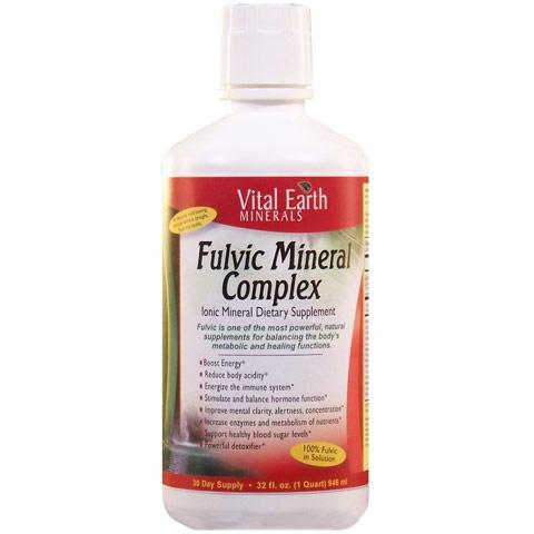 Fulvic Mineral Complex Liquid, Ionic Mineral Supplement, 32 oz, Vital Earth Minerals