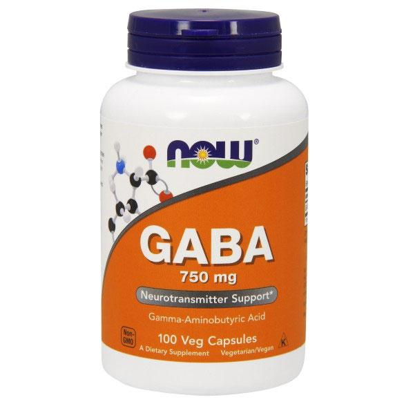 GABA 750 mg, 100 Vcaps, NOW Foods