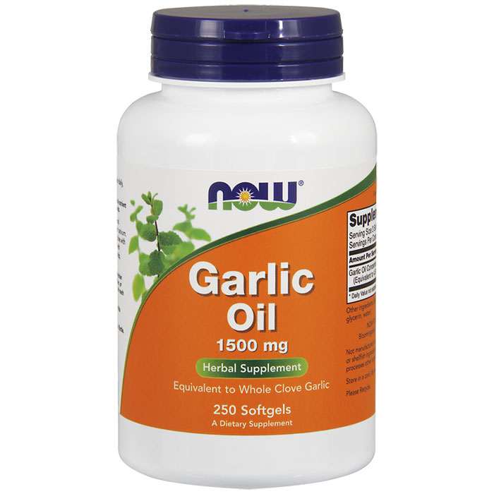 Garlic Oil Concentrate 1500mg 250 Gels, NOW Foods
