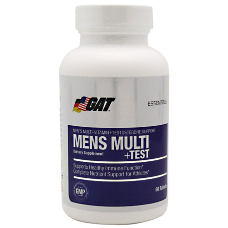 Mens Multi + Test, Mens Vitamins + Testosterone Support, 60 Tablets, GAT Sport