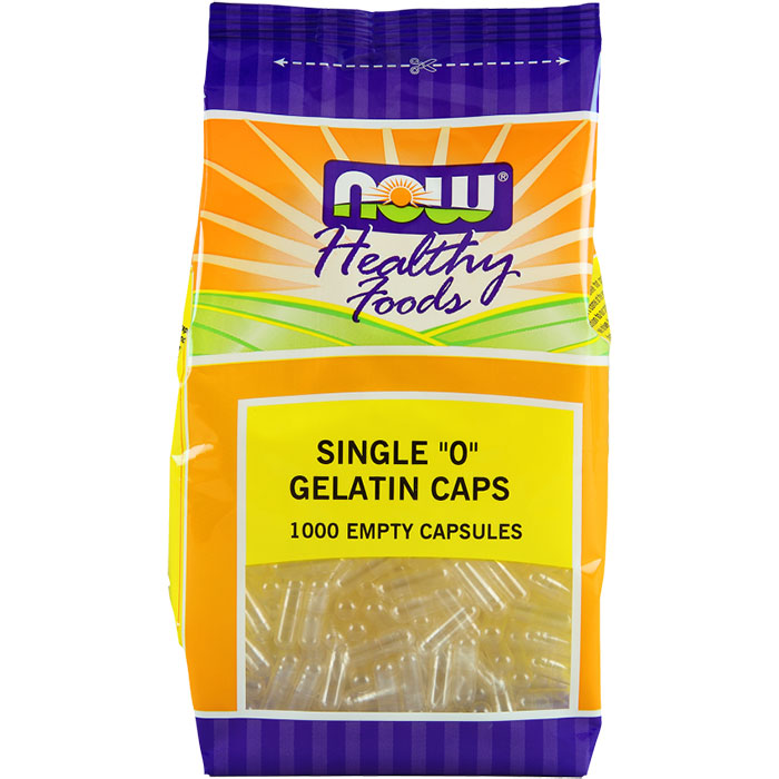 Empty Capsules Gelatin - Single 0, Value Size, 1000 Capsules, NOW Foods