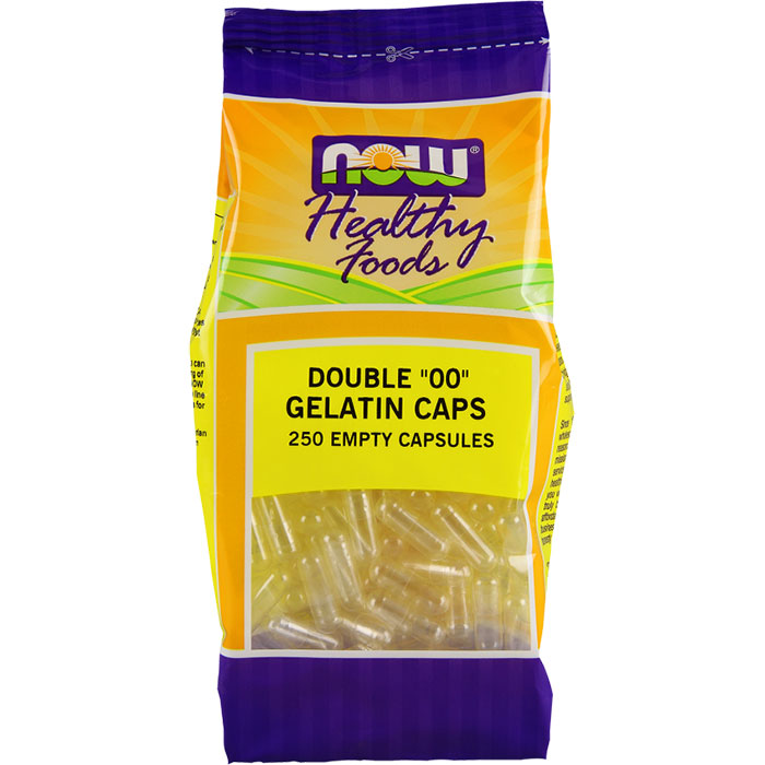 Empty Capsules Gelatin - Double 00, 250 Capsules, NOW Foods