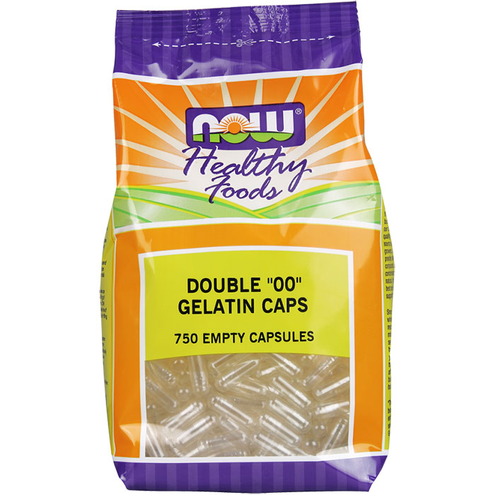 Empty Capsules Gelatin - Double 00, Value Size, 750 Capsules, NOW Foods