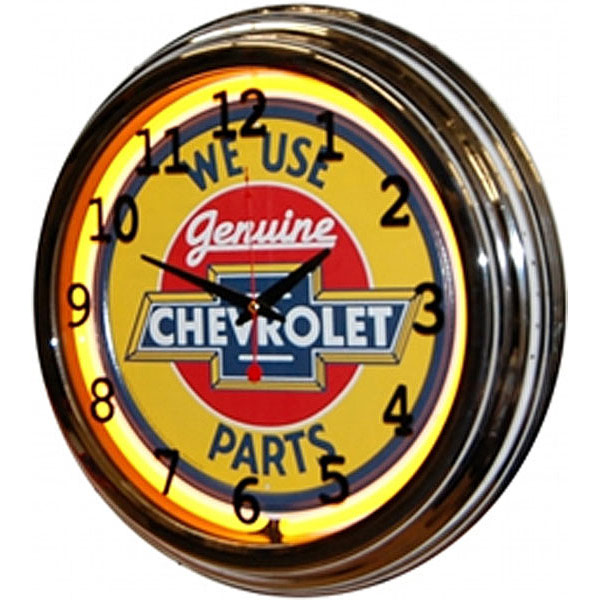 Image of Genuine Chevrolet Parts 17 Inch Yellow Neon Wall Clock