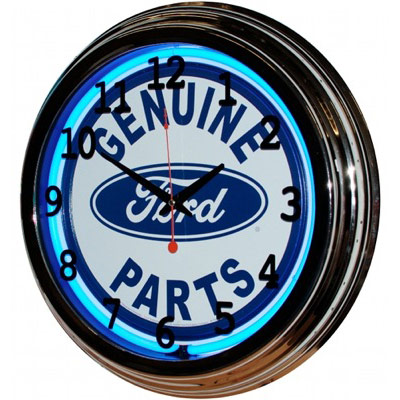 Image of Genuine Ford Parts 17 Inch Blue Neon Wall Clock