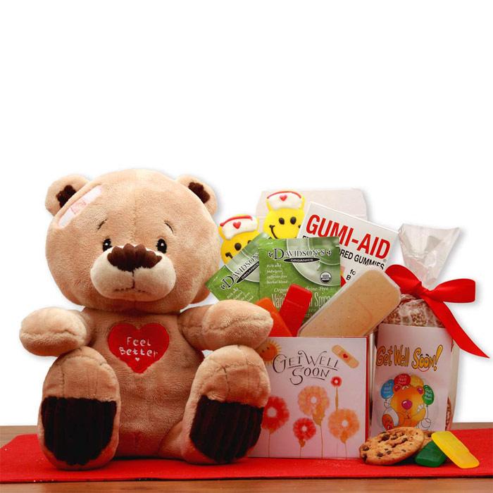 Get Well Soon Teddy Bear Gift Set, Elegant Gift Baskets Online