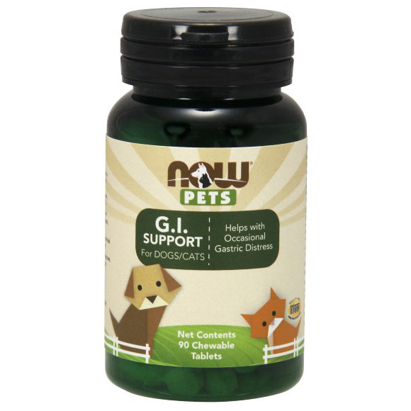 G.I. Support For Dogs & Cats, 90 Chewable Tablets, NOW Foods
