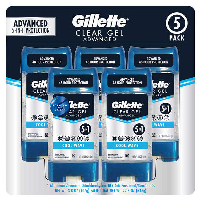 Image of Gillette Advanced Clear Gel Antiperspirant Deodorant, 3.8 oz x 5 ct