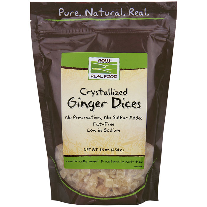 Ginger Dices Crystallized, 16 oz, NOW Foods