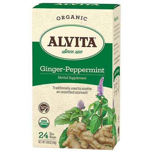Organic Ginger Peppermint Tea, 24 Tea Bags, Alvita Tea
