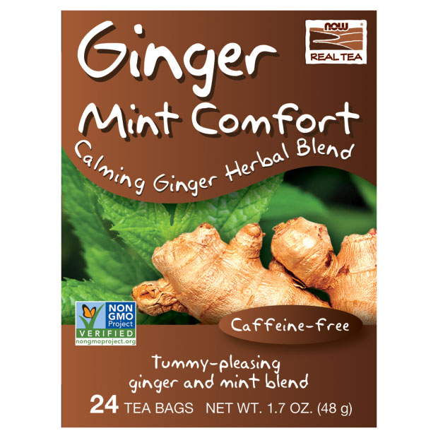Ginger Mint Comfort Tea, Calming Ginger Herbal Blend, 24 Tea Bags, NOW Foods