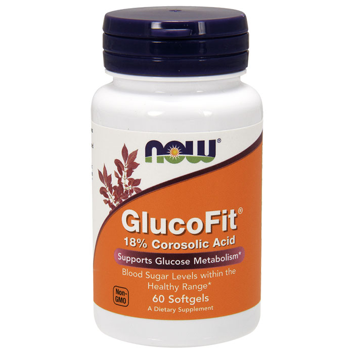GlucoFit, 18% Corosolic Acid, 60 Softgels, NOW Foods