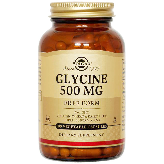 Glycine 500 mg, 100 Vegetable Capsules, Solgar