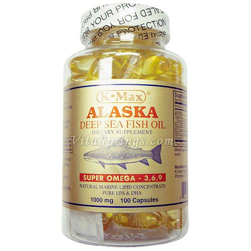 K-Max Alaska Deep Sea Fish Oil Super Omega-3, 1000 mg, 100 Softgels