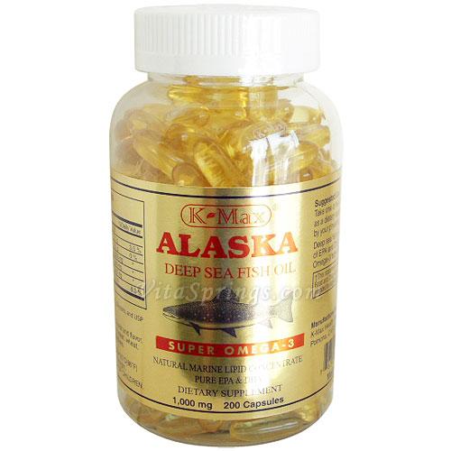 Alaska Deep Sea Fish Oil 1000 mg Super Omega-3, 200 Softgels, K-Max
