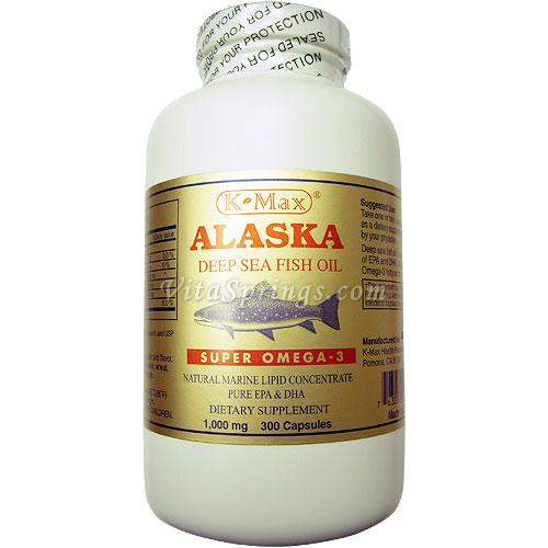 K-Max Alaska Deep Sea Fish Oil Super Omega-3, 1000 mg, 300 Softgels
