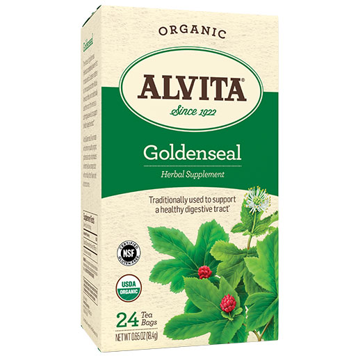 Image of Organic Goldenseal Tea (Golden Seal Herb), 24 Tea Bags, Alvita Tea