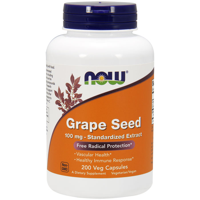 Grape Seed Standardized Extract 100 mg, 200 Capsules, NOW Foods
