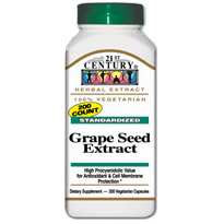 Image of Grape Seed Extract 200 Vegetarian Capsules, 21st Century Health Care