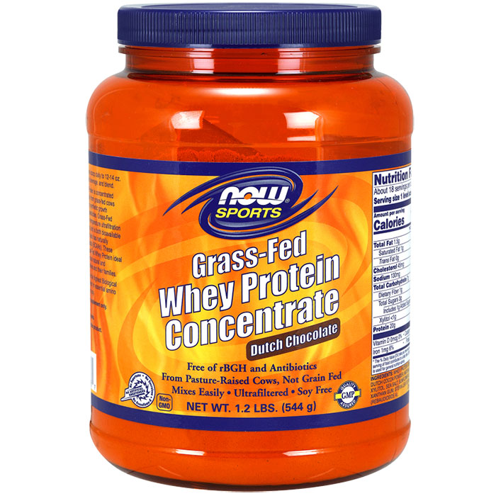 Grass-Fed Whey Protein Concentrate Powder - Dutch Chocolate, 1.2 lb, NOW Foods