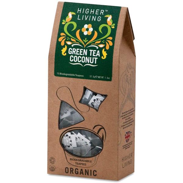 Organic Green Tea Coconut, 15 Biodegradable Teapees, Higher Living