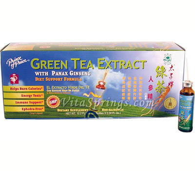 Green Tea Extract with Panax Ginseng 30x10cc, Prince of Peace
