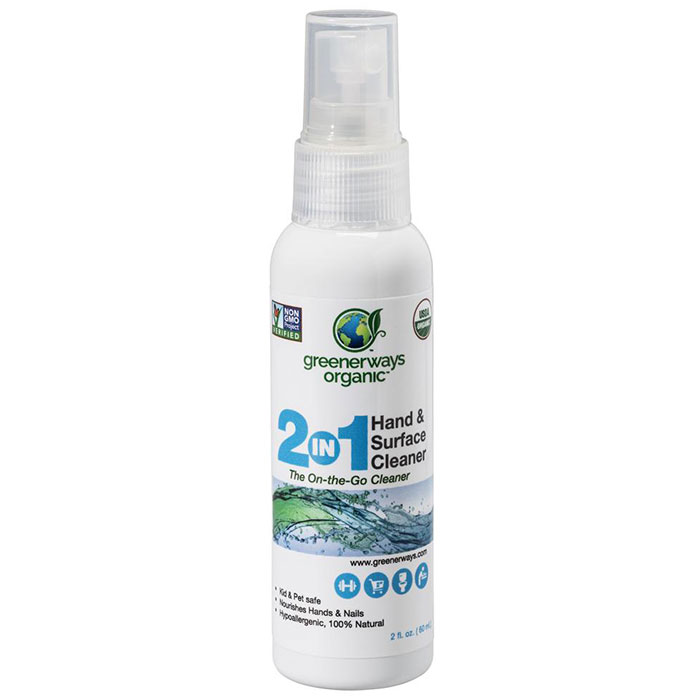 Greenerways Organic ECO TIZER On-The-Go Hand & Surface Cleaner, 2 oz