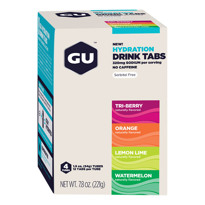 GU Hydration Drink Tabs Mixed Flavor Box, 12 Tablets x 4 Tubes