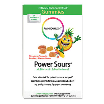 Power Sours, Gummy Multi-Vitamins for Kids, 120 Gummies, Rainbow Light