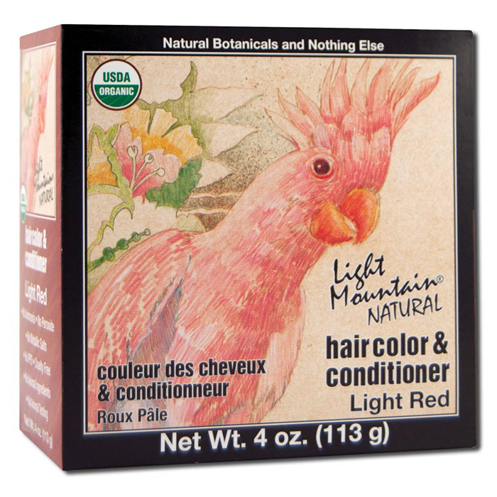 Natural Hair Color & Conditioner, Light Red, 4 oz, Light Mountain Henna