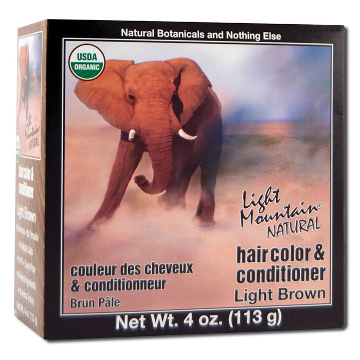 Natural Hair Color & Conditioner, Light Brown, 4 oz, Light Mountain Henna