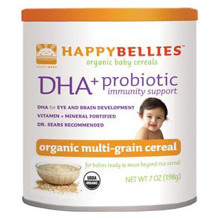 HappyBellies Organic Multigrain Cereal, with Probiotics & DHA, 7 oz x 6 Cans, HappyBaby (Happy Baby)