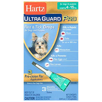 Hartz Ultra Guard Pro Flea & Tick Drops For Dogs 4lbs-15lbs, 3 Monthly Treatments