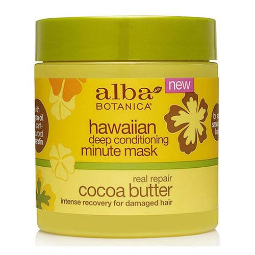 Hawaiian Deep Conditioning Minute Hair Mask, Real Repair Cocoa Butter, 5.5 oz, Alba Botanica
