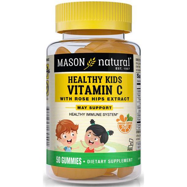 Healthy Kids Vitamin C with Rose Hips Extract, 50 Gummies, Mason Natural
