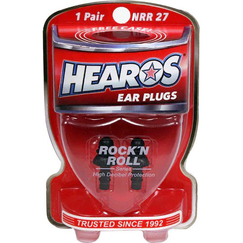 Hearos Ear Plugs Rock 'n Roll Series, 22 NRR Ear Filters, 1 Pair + Free Case