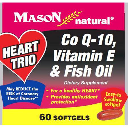 Heart Trio, Co Q-10, Vitamin E & Fish Oil, 60 Softgels, Mason Natural