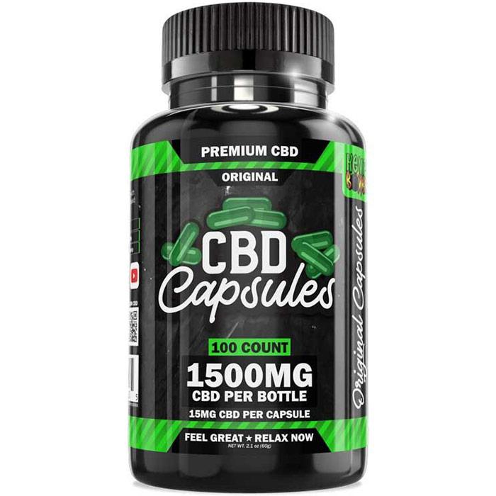 Hemp Bombs CBD Capsules, 15 mg CBD Per Capsule, 70 Capsules