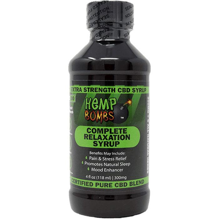 Hemp Bombs CBD Relaxation Syrup 300 mg, Fruit Punch Flavor, 4 oz